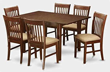 7-Pc Dining Set in Mahogany Finish