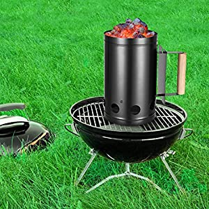OUTXPRO Charcoal Chimney Fire Starter - For BBQ and Grill with Wooden Handle for Indoor and Outdoor from OUTXPRO
