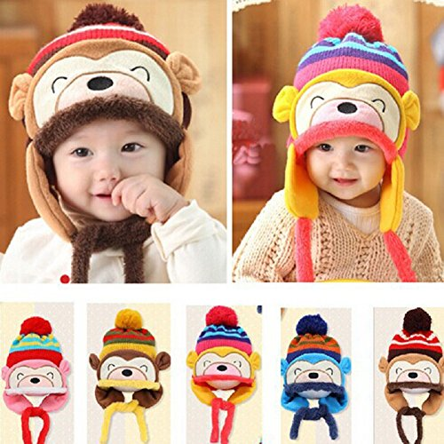 Knit Beanie Cap for Baby, Misaky Winter Warm Kids Girl Boy Ear Thick Hat (Yellow)