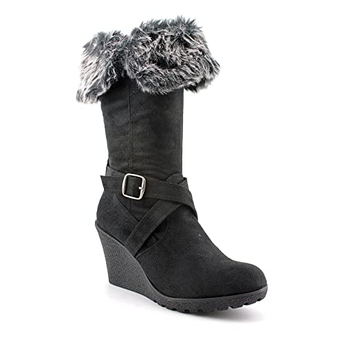 XOXO Women's Olivia Faux Fur Wedge Boots in Black Size 9
