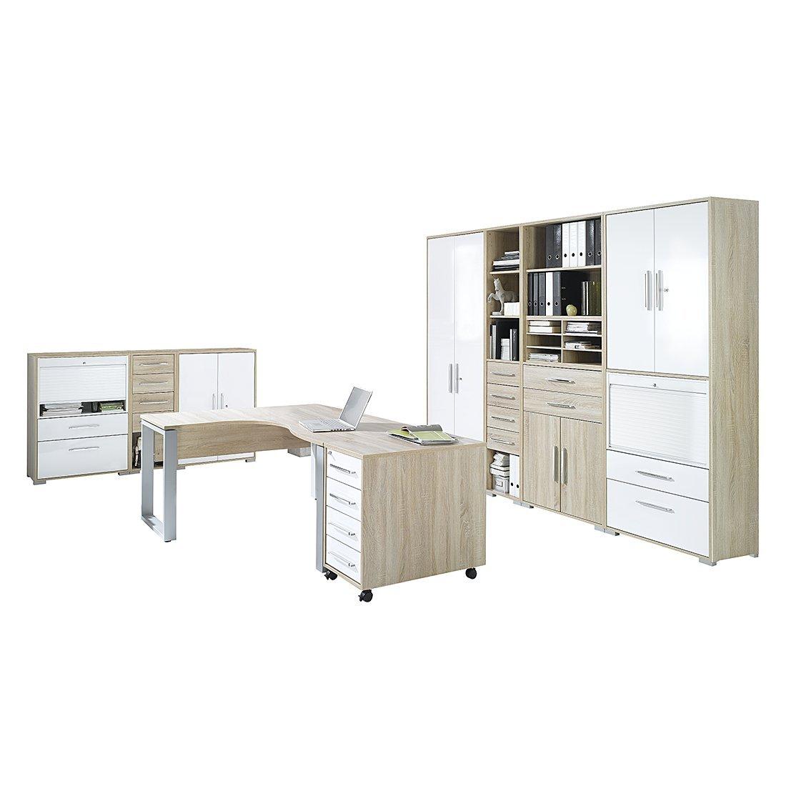 MAJA-Möbel 1210 2556 Büroprogramm SYSTEM, Sonoma-Eiche-Nachbildung - weiß Hochglanz