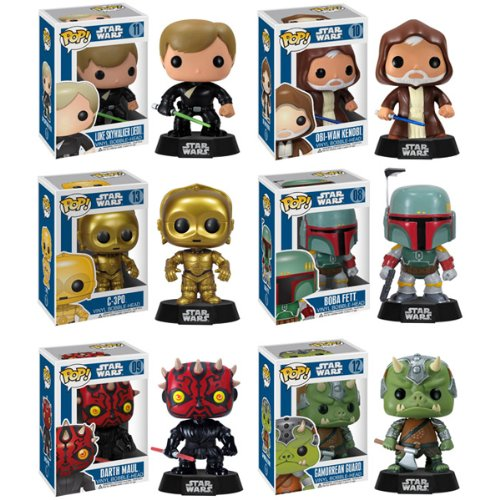 Funko POP! Star Wars Series 2 - Vinyl Bobble-Heads - SET OF 6 (Luke, Obi-Wan, Darth Maul & More)