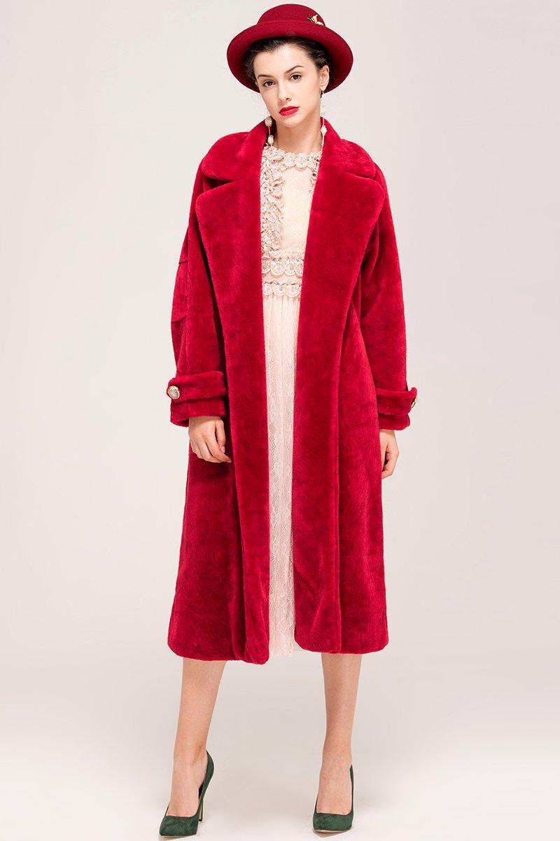 YIGELILA Women's Vintage Oversized Shearling Belted Long Fur Coat Wool Outwear 4