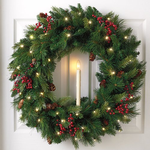 Cordless Wreath Candle With Streetside Brightness