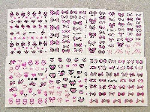 3Dネイルシール 大人買いセット6種類 ピンク&ベビーピンク