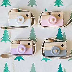 Wooden Mini Camera Toy Pillow Kids' Room Hanging Decor Portable Toy Gift White Color