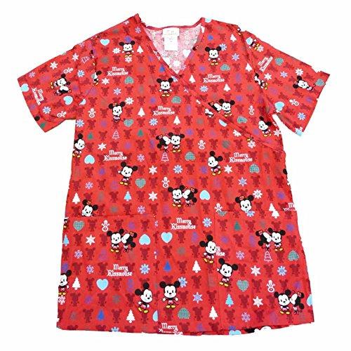 disney cuties mickey mouse womens red medical smock nurse scrubs shirt top