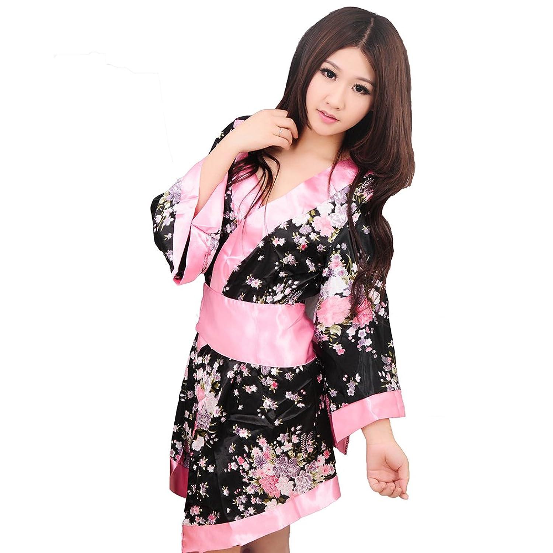 Kimono Robe Sleepwear Yukata Negligés Floral Black Bedroom Dessous bestellen