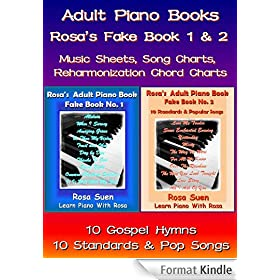 Piano Song Books - Fake Book 1 & 2 - Music Sheet, Song Charts, Reharmonization Chord Charts - 10 Gospel Hymns & 10 Standards and Popular Songs - Bundle of 2 Books