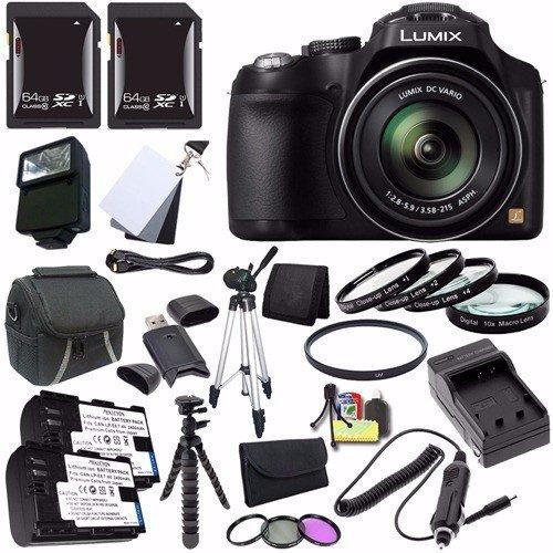 Panasonic Lumix FZ70 Digital Camera + Battery + External Charger + 64GB SDXC Card + Case + Filter Kit + Macro Close Up Kit + Card Reader + Saver Bundle - International Version (No Warranty) (Panasonic Lumix Dmc Fz70 Battery compare prices)