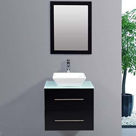 "Bathroom Cabinet Ceramic Porcelain Sink Wall Mount Vanity 24"" w/Mirror Faucet - Plywood With Painting Vanity - Tempered Glass Countertop With Painting - Ceramic Basin - Soft Close Drawers"
