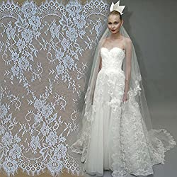 New 3 M / Lot Eyelash lace fabric 150cm and 70cm white black diy exquisite lace embroidery clothes wedding dress accessories RS230 white 150cm wide