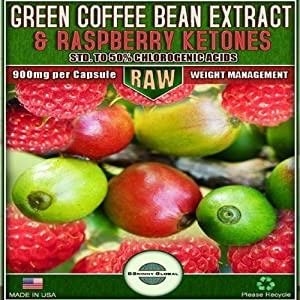 Pure Green Coffee Bean Extract Raw With 50 Chlorogenic Acids 800mg Green Coffee Bean Extract 100mg Raspberry Ketones 60 Veggie Capsules from BSkinny Global