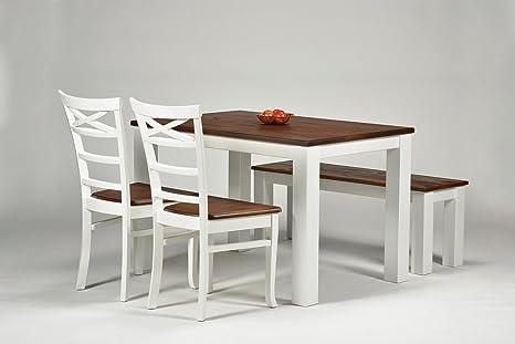 Sitzgruppe ,,Rio Landhaus,, Pinie Massiv Esstisch 120x80cm + Bank 120x38cm + 2 Stuhle, Farbton: Weiss / Kolonial Zimt