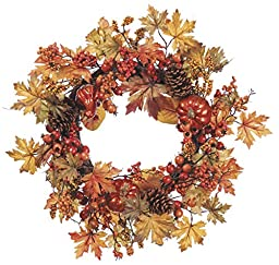 24 Inch Fall Wreath with Pumpkins, Gourds, Pinecones, Berries and Maple Leaves, Thanksgiving Wreath