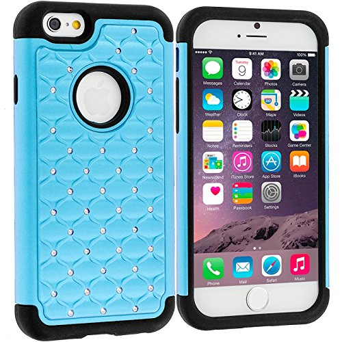 Cell Accessories For Less (Tm) Baby Blue Hard Rubberized Diamond Case Cover For Apple Iphone 6 (4.7) + Bundle (Stylus & Micro Cleaning Cloth) - By Thetargetbuys front-565552