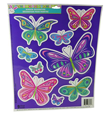 Easter Decorative Glitter Window Clings - Beautiful Butterflies Theme