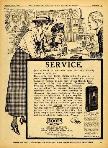 1918 Ad Photography Supply Store Boots Chemists Camera Film Photography London - Original Print Ad