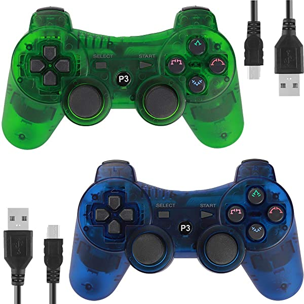 Kolopc 2 Packs Wireless Controller Gamepad remote for PS3 Playstation 3 Double Shock - Bundled with USB Charge Cord (Clear Blue and Clear Green1) (Color: ClearBlue and ClearBlue)