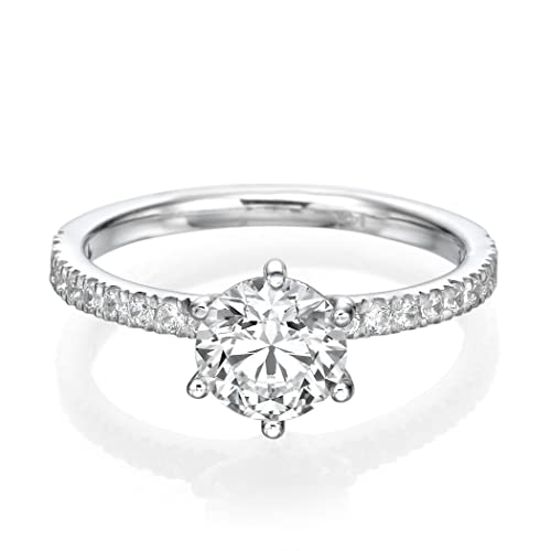 0.70 CT Diamond Engagement Ring Genuine Round Cut Main Stone H/SI1 (Clarity Enhanced) 18ct White Gold Pave