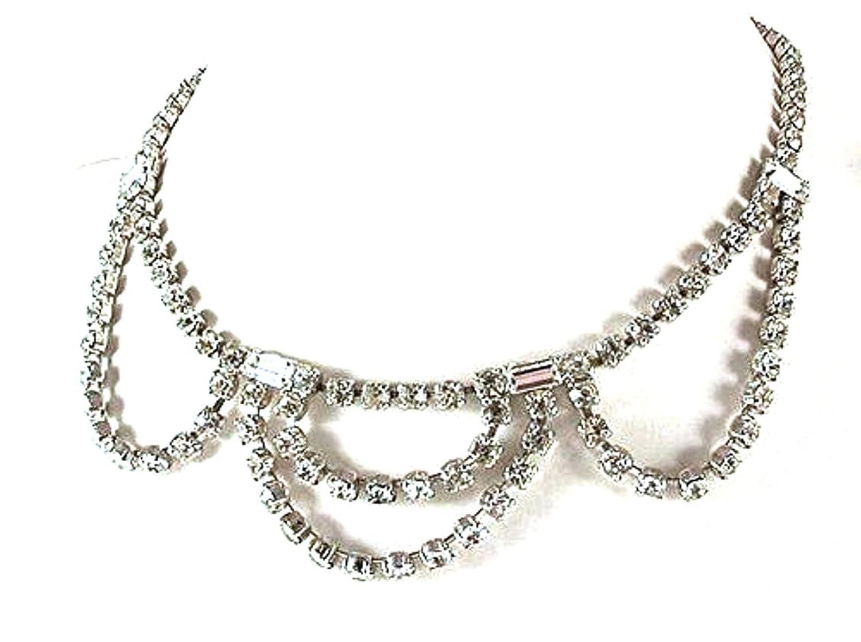 Damen Halskette Metall Strassstein klar in Weiß in vintage – design 13114 günstig