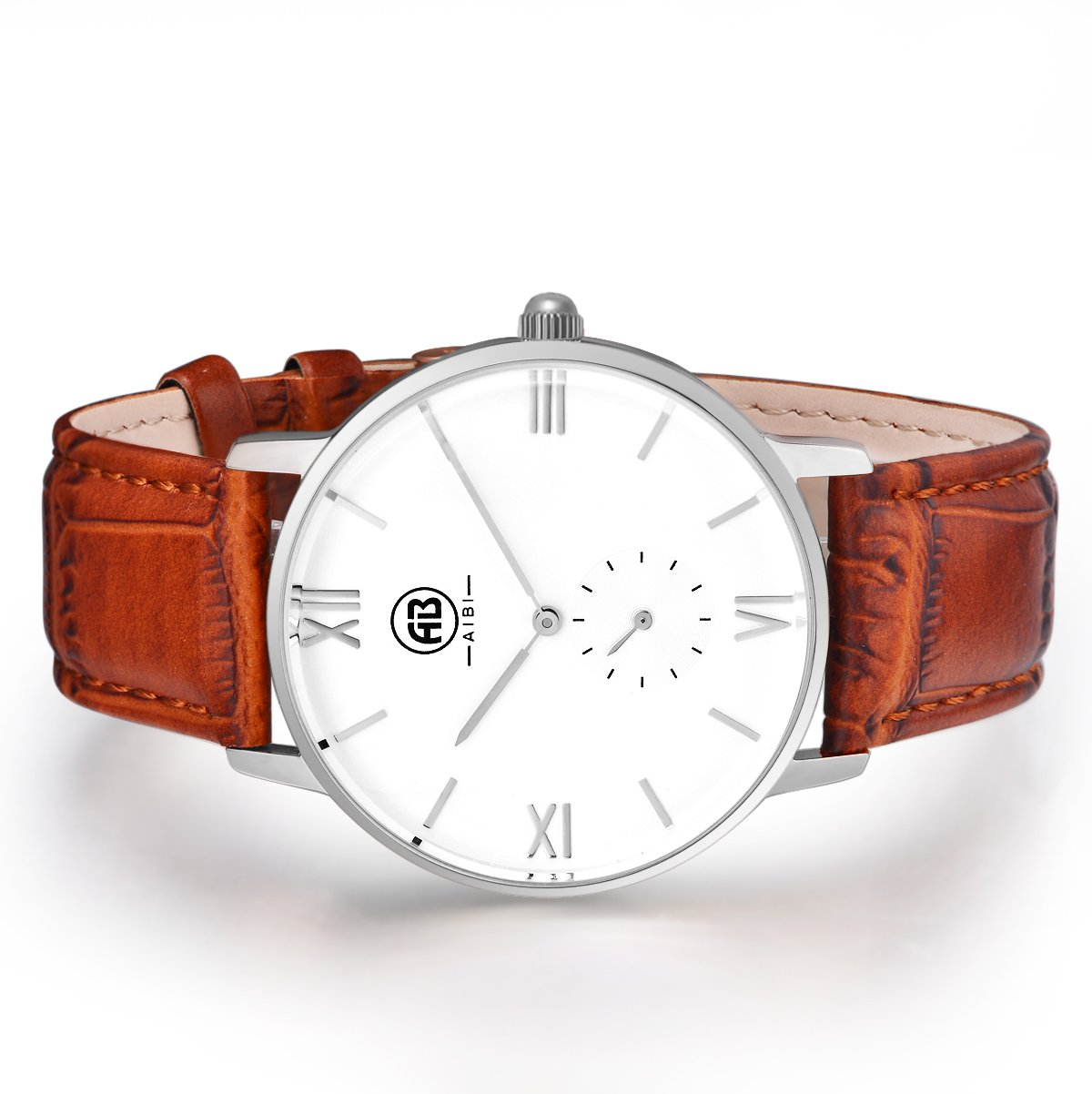 AIBI Men`s Silver Tone White Large Face Quartz Analog Brown Leather Watch with Small Second Dial 2