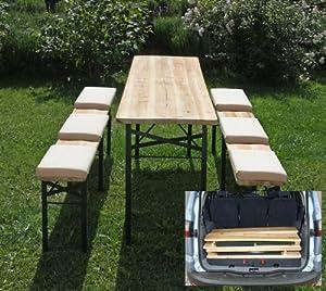 Ensemble de jardin bistrot n31 table 2 bancs pliable for Table et banc pliant castorama
