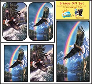 Bridge Gift Set - Soaring Eagles - Large Print Double Deck Playing Cards - Score Pad - 2 Sets of Tallies