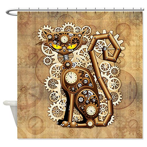 CafePress Steampunk Cat Vintage Style Shower Curtain - Standard White