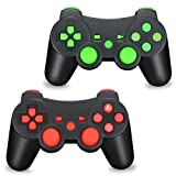 TPFOON PS3 Wireless Controller, 2pcs Pack Bluetooth Double Vibration Sixaxis Gamepad Joystick for Sony PlayStation 3 PS3 (Color: Green-Red)
