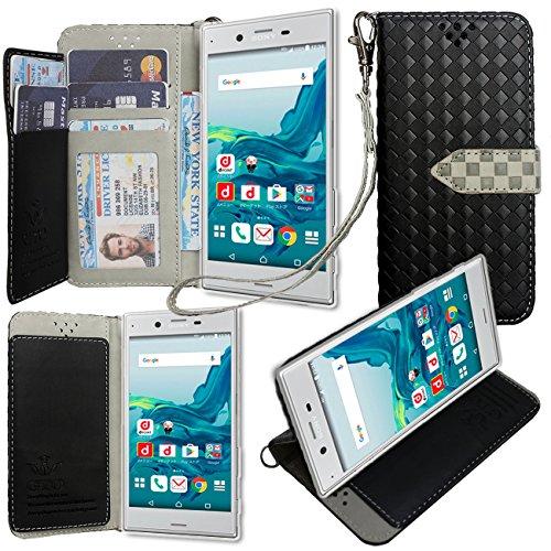 SONY Xperia XZ docomo SO-01J au SOV34 softbank 601SO ケース 手帳型 カバー 手帳型 【GTO】お洒落な2トーンカラー オリジナルハンドストラップ&ネックストラップ付 3点セット PUレザー&高品質アンチグレアTPUケースを使用した手帳型PUレザーケース ブラック