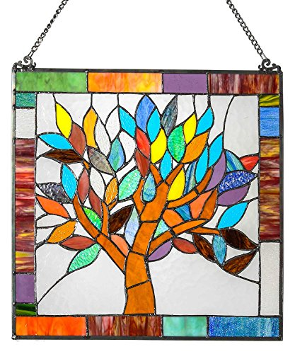 "River of Goods 15042 Tiffany Style Stained Glass Mystical World Tree Window Panel 18"" H 0"