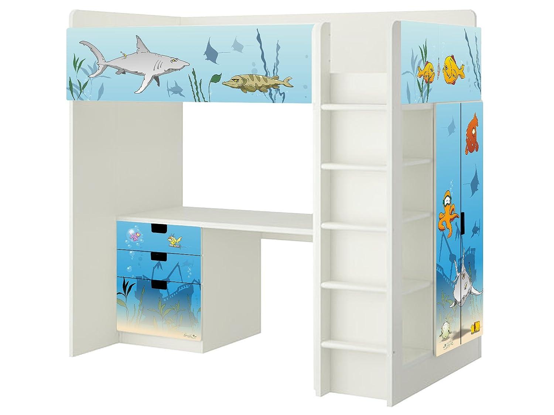 Unterwasserwelt Aufkleber – SH07 – passend für die Kinderzimmer Hochbett-Kombination STUVA von IKEA – Bestehend aus Hochbett, Kommode (3 Fächer), Kleiderschrank und Schreibtisch jetzt kaufen