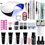 Fashion Zone 4 Colors Poly Nail Gel set with 36W LED Nail Lamp Nail Extension Gel Kit Professional Nail Technician All-in-One French Kit (Color: KP-Builder Gel Kit)