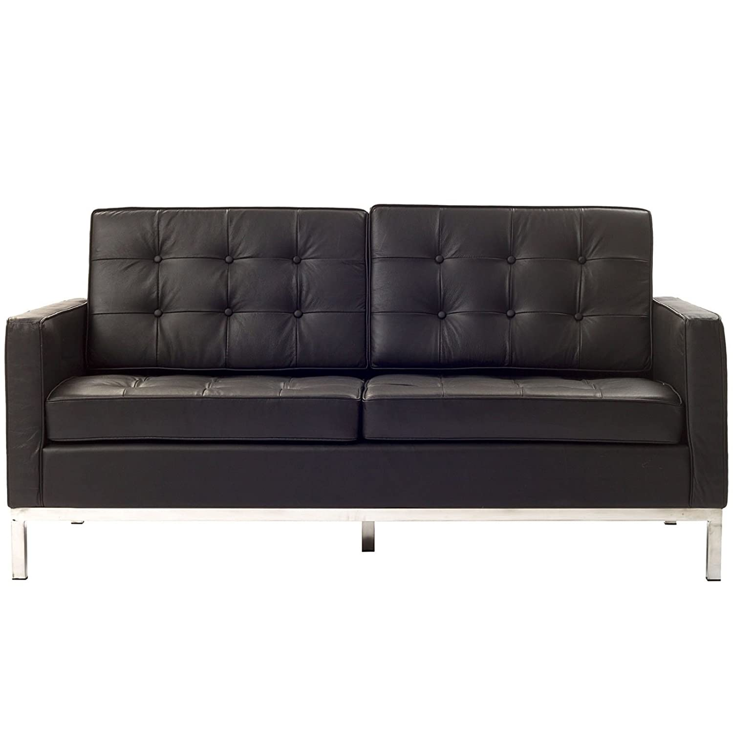 Urban Contemporary Tufted Brown Leather Loveseat