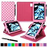 roocase Kindle Fire HD 7 2014 Case, new Kindle Fire HD 7 Dual View Folio Case with Sleep / Wake Smart Cover with Multi-Viewing Stand for All-New 2014 Fire HD 7 Tablet (4th Generation), Polkadot Pink