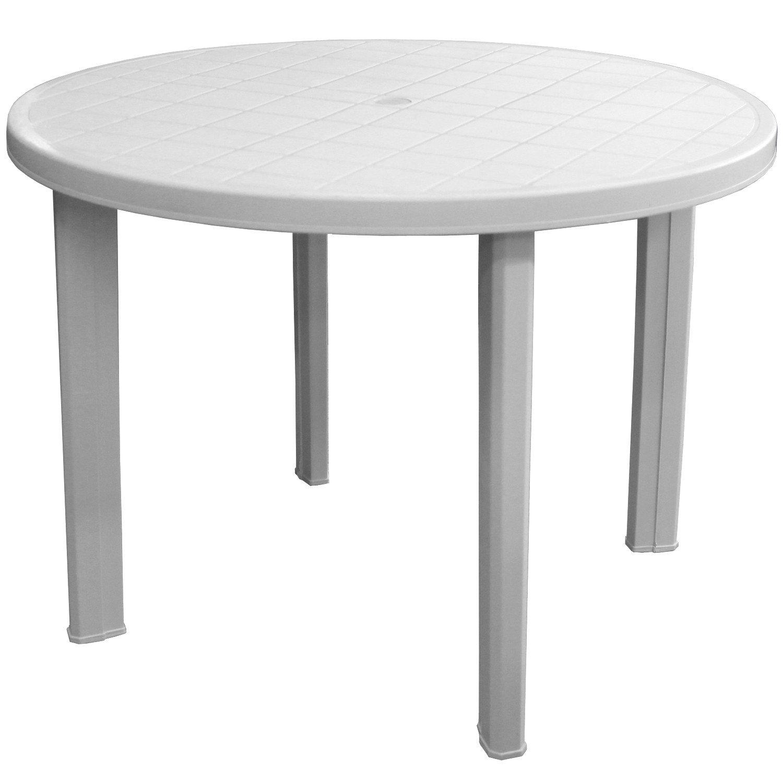 Gartentisch 101cm Rund Vollkunststoff Weiss Gartenmöbel Terrassenmöbel Campingmöbel Kunststofftisch Beistelltisch Campingtisch