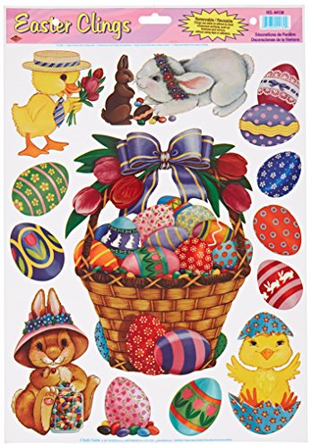 Beistle 44130 Easter Basket and Friends Clings Sheet for Parties, 12 by 17-Inch