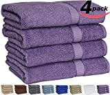 """Utopia 100% Cotton Bath Towels, Easy Care, Ringspun Cotton for Maximum Softness and Absorbency, 4-Pack - Plum (26"""" x 52"""")"""