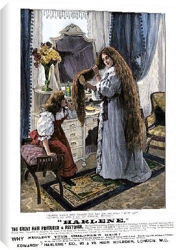 Canvas Print of Hair restorer ad, England, 1880s from North Wind Picture Archives