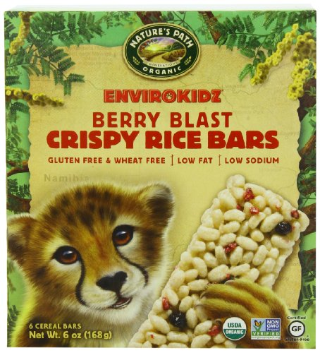 EnviroKidz Organic Cheetah Crispy Rice, Berry Blast, 1.0 oz. Bars, 6-Count (Pack of 6) (Rice Crispy Gluten Free compare prices)
