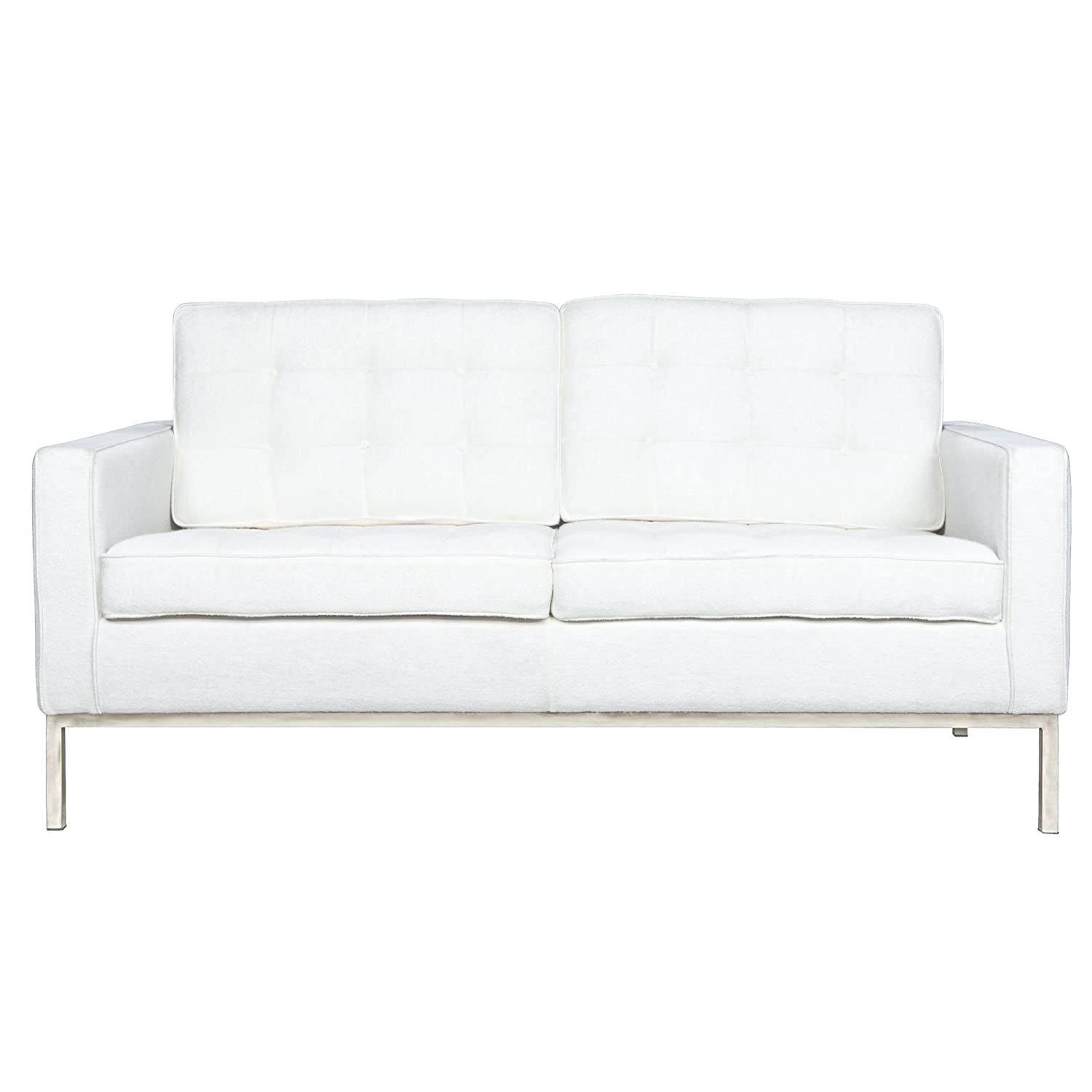 LeisureMod® Modern Florence Style Fabric Loveseat Sofa in White Wool