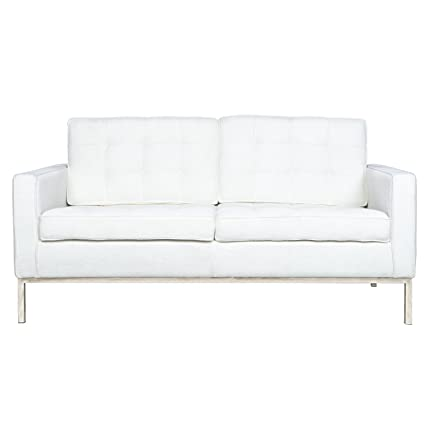 LeisureMod Modern Florence Loveseat Sofa in White Wool