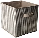 InterDesign Chevron Fabric Storage, Cube, Taupe/Natural