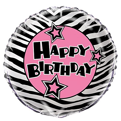 "18"" Foil Zebra Print Birthday Balloon"