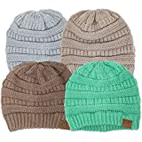 Thick Slouchy Knit Oversized Beanie Cap Hat,One Size,4 Pack: Light Grey/Beige/Taupe/Mint