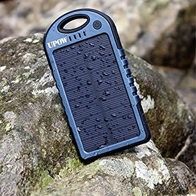 Upow 5000mAh Solar Panel Charger Rain-Proof Shockproof Portable Power Bank for iPhone 6s 6 Plus Galaxy S6 Edge Note 5 and More