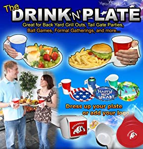 Drink N Plate Tailgate Party Plate Camping Etc.