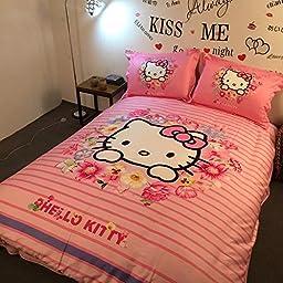 Brandream Pink Hello Kitty Bedding Cute Cartoon Kids Bedding Set Full Queen Size