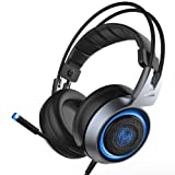SOMIC G951 USB Plug Stereo Sound Noise Cancelling Gaming Headset for PC, PS4, Laptop, with Vibration Bass,Mic &RGB LED lights (Black) (Color: Black, Tamaño: Medium)